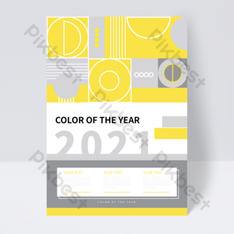flyer de couverture de livre tendance gris jaune géométrique créatif Modèle EPS
