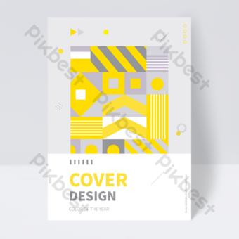 flyer de couverture de livre de tendance gris jaune couture géométrique créative Modèle EPS