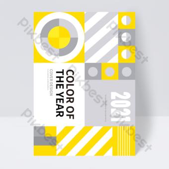 flyer de couverture de livre de tendance abstrait géométrique jaune gris Modèle EPS