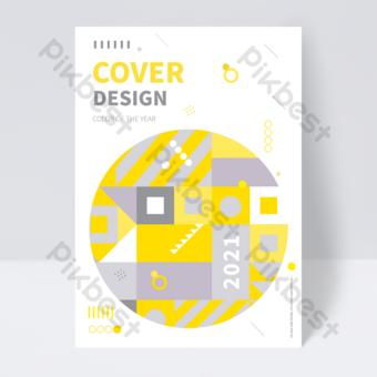flyer de couverture de livre tendance gris jaune géométrique Modèle EPS