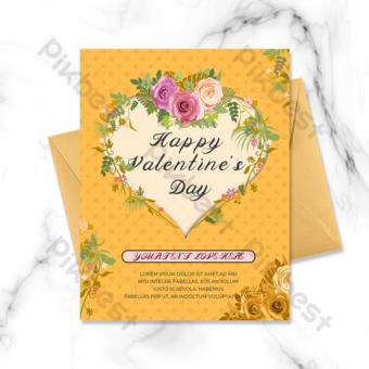 carte de voeux floral avec ombrage de fond jaune Modèle PSD