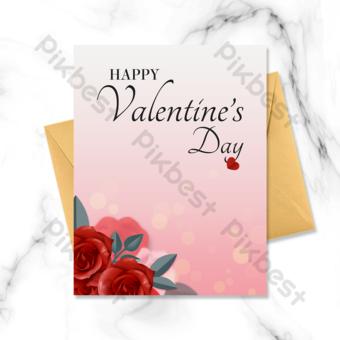 fleurs de carte de voeux dégradé saint valentin Modèle PSD