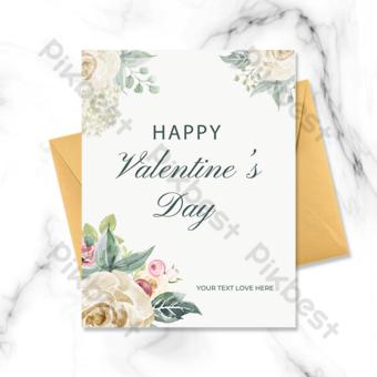 fleurs de carte de voeux saint valentin Modèle PSD
