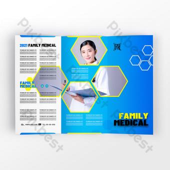 Fashionable modern blue medical health service tri-fold design Template PSD