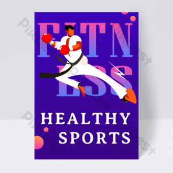 dépliant de cours en ligne de taekwondo sport fitness Modèle PSD