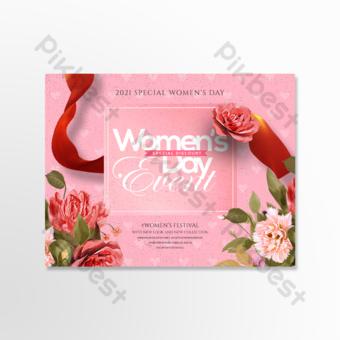 بسيطة الرجعية 38 بطاقة عطلة يوم المرأة قالب PSD