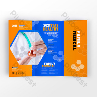 Tri-fold design for fashionable and popular medical service agencies Template PSD