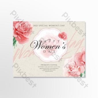 بسيطة الرجعية الأزهار يوم المرأة بطاقة عطلة قالب PSD