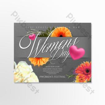 الرجعية أضيق الحدود الكرتون بطاقة عطلة الأزهار قالب PSD