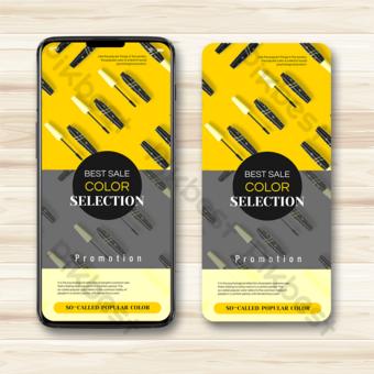 اتجاه اللون الأصفر الرمادي الإعلان المحمول قالب PSD