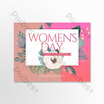 carte de voeux pour le jour des femmes florales rétro couleur simple Modèle PSD
