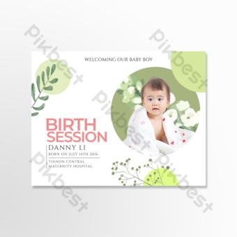carte de voeux personnalisée de notification de naissance de bébé géométrique Modèle PSD