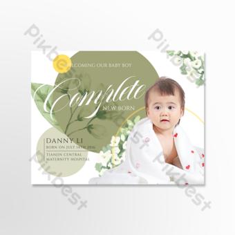 carte de voeux de notification de naissance de bébélégant créatif Modèle PSD