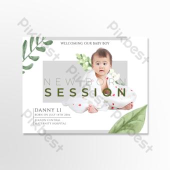 personnalité simple et élégante carte de voeux de notification de naissance de bébé Modèle PSD