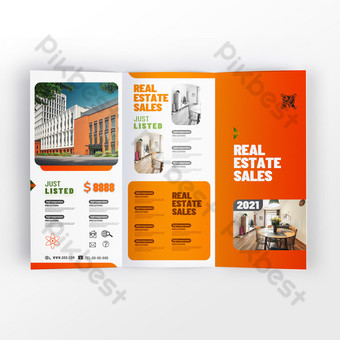 Fashion and modern real estate sales service industry brochure Template PSD