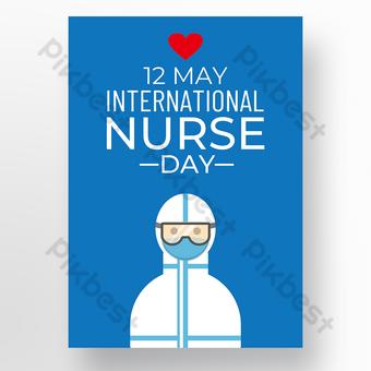 poster hari perawat latar belakang biru Templat PSD