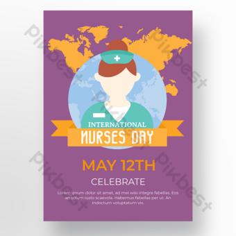poster hari perawat latar belakang ungu Templat PSD