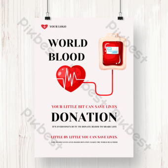 Free blood donation day love charity poster Template PSD
