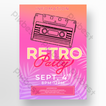 cartel de fiesta temática retro cinta rosa Modelo PSD