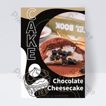 flyer de gâteau au coeur qui coule au chocolat Modèle PSD