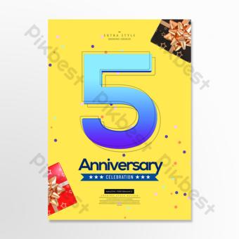 flyer de célébration anniversaire couleur élégante Modèle PSD