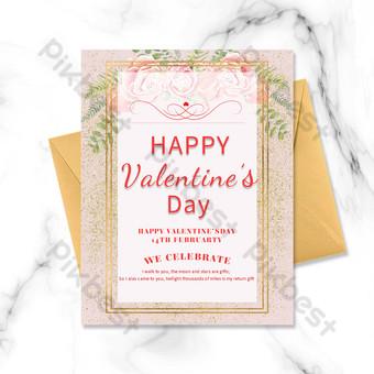 carte postale et carte de voeux de la saint-valentin frontière or rose Modèle PSD