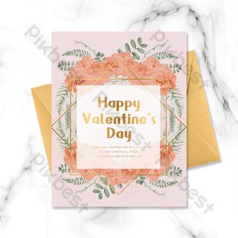 carte de voeux de cadre doré fleurs rose saint valentin Modèle PSD