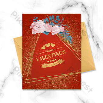ramo rojo simple borde dorado tarjeta de felicitación del día de san valentín Modelo PSD