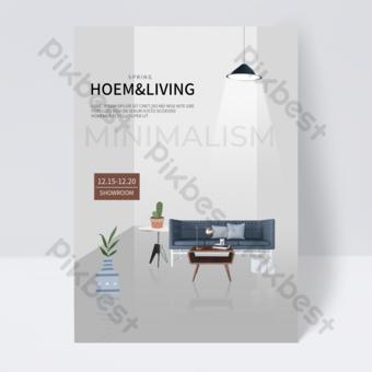 نشرة إعلانية بسيطة لأثاث المنزل باللون الرمادي قالب PSD