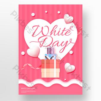 رومانسية على شكل قلب وردي الحب الأبيض ملصق عيد الحب قالب PSD