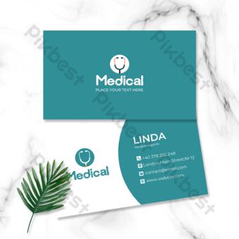 carte de visite double face verte simple médecin et infirmière de l'industrie médicale Modèle PSD