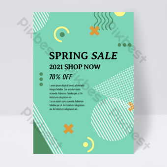 flyer de vente de printemps de style de couleur géométrique simple verte Modèle PSD