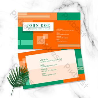 carte de visite double face géométrique colorée lumineuse orange Modèle PSD