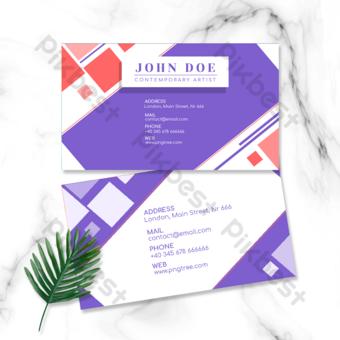 carte de visite double face géométrique colorée violette Modèle PSD