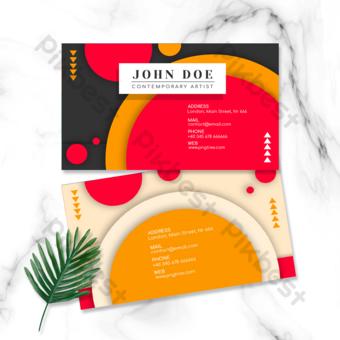 carte de visite double face géométrique colorée rouge Modèle PSD