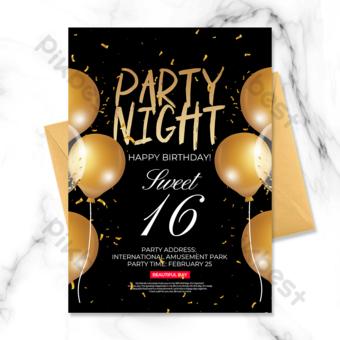 invitation de fête d'anniversaire de style or noir Modèle PSD