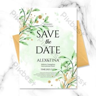 بسيطة خلفية الحبر النبات الأخضر الخط الذهبي دعوة زفاف قالب PSD