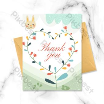 amor de dibujos animados gracias tarjeta de felicitación Modelo PSD