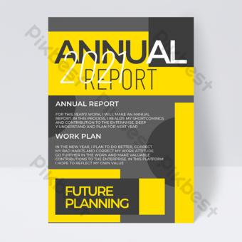 2021 لون الخلفية الرمادية التقرير السنوي قالب PSD