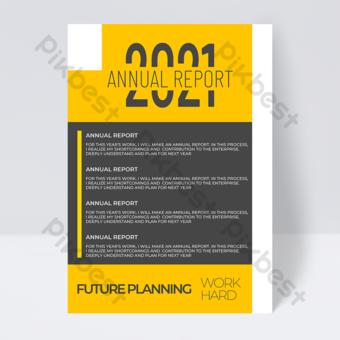 أصفر ورمادي الأعمال أزياء 2021 لون الاتجاه نشرة التقرير السنوي قالب PSD