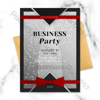 invitation à un événement professionnel carte argent noir Modèle PSD