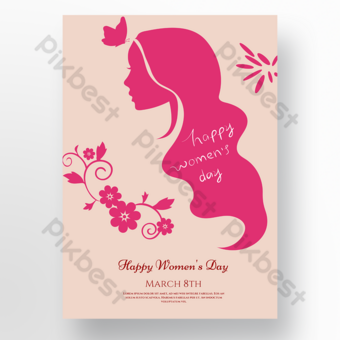 Flower lady silhouette 38 section Template PSD