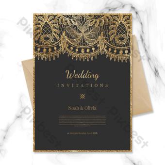 modèle de carte d'invitation de mariage doux impression simple haut de gamme Modèle PSD