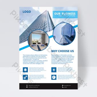 modèle de flyer simple image corporative bleue Modèle AI