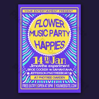 affiche de flyer de fête de musique hippies Modèle PSD