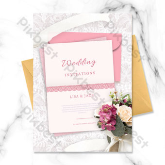 renda latar belakang amplop kartu ucapan undangan pernikahan Templat PSD