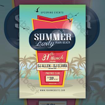 flyer fête d'été sur la plage Modèle PSD