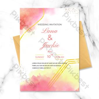 carte d'invitation dégradé mariage abstrait ligne or Modèle PSD
