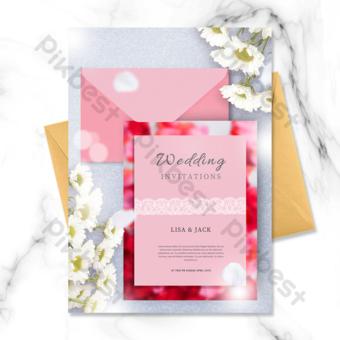 invitation de mariage de fleurs de carte de voeux enveloppe rose Modèle PSD