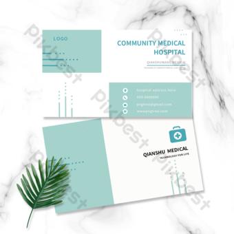 carte de visite double face de lindustrie du matériel médical géométrique vert Modèle PSD